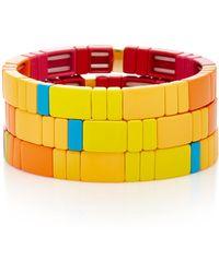 Roxanne Assoulin - Set Of Three Starburst Block Party Enamel Bracelets - Lyst