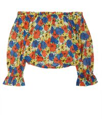 RIXO London - Kerry Floral-print Off-the-shoulder Cotton Cropped Top - Lyst