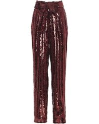 Sally Lapointe - Striped Belted Sequined Tapered Pants - Lyst