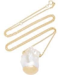 Mizuki - Baroque Pearl Slide Solitaire Necklace - Lyst
