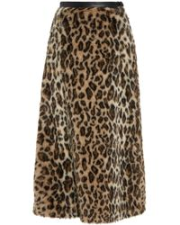 Rodarte - Leopard Print Faux Fur Skirt - Lyst