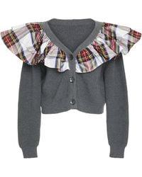 Isa Arfen - Tartan Ruffled Rib-knit Cardigan - Lyst