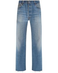 RE/DONE - Levis Frayed High-rise Straight-leg Jeans - Lyst
