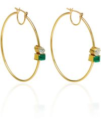 Jemma Wynne - One Of A Kind Emerald And Diamond Station Hoop Earrings - Lyst