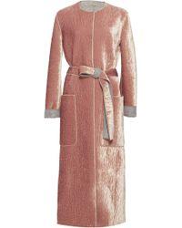 Bottega Veneta - Belted Crushed Velvet Coat - Lyst