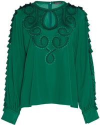 Andrew Gn - Tasseled Embroidered Georgette Top - Lyst