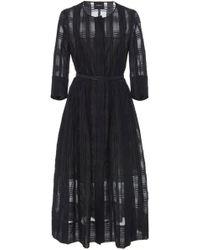 Akris - Check Organza A-line Midi Dress With Horsehair Belt - Lyst