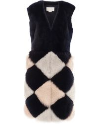 Genny - Diamond Patch Fur Vest - Lyst