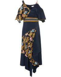 Peter Pilotto - Asymmetric Cold-shoulder Printed Silk Dress - Lyst