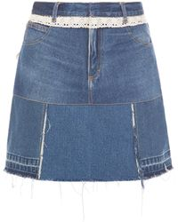 Ksenia Schnaider - Reworked Denim Lace Trim Skirt - Lyst