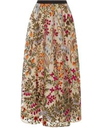 RED Valentino - Floral Embroidered Tulle Skirt - Lyst