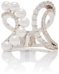 Fallon - Axis Pearl Double Wave Ring - Lyst