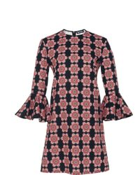Holly Fulton - Printed Shift Dress With Ruffle Sleeves - Lyst