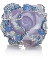 Wendy Yue - 18k White Gold, Purple Jade, Sapphire And Diamond Ring - Lyst
