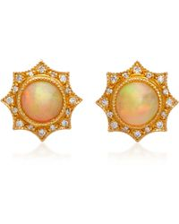 Arman Sarkisyan - 22k Gold, Opal And Diamond Stud Earrings - Lyst