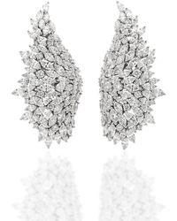 YEPREM - 18k White Gold Wide Diamond Ear Cuffs - Lyst