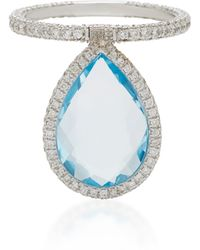 Nina Runsdorf - Large Blue Topaz And 18k White Gold Flip Ring - Lyst