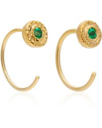 Octavia Elizabeth - 18k Gold Emerald Earrings - Lyst