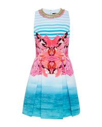 Manish Arora - Paradise Printed Embroidered Short Dress - Lyst