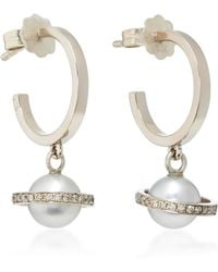Alina Abegg - Mirco Saturn White Gold, Diamond And Pearl Hoops - Lyst