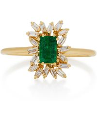 Suzanne Kalan - 18k Gold Emerald And Diamond Ring - Lyst