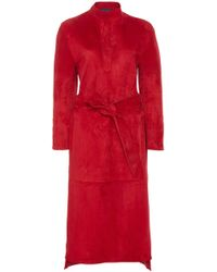 Martin Grant - Long Sleeve Tunic Suede Dress - Lyst