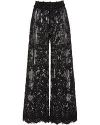 Marchesa - Wide Leg Lace Trousers - Lyst