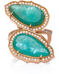Sara Weinstock - 18k Gold, Emerald And Diamond Ring - Lyst