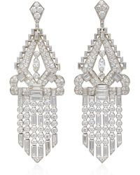 Fred Leighton - One-of-a-kind Art Deco Diamond Double Dress Clip Fringe Pendant Earrings - Lyst