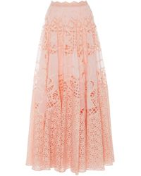 Costarellos - Flared Broderie Anglais Cotton Skirt - Lyst