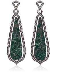 Sara Weinstock - Taj 18k Oxidized Gold, Uvarovite And Diamond Earrings - Lyst