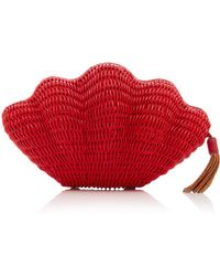 Kayu - Exclusive Jane Leather-trimmed Straw Clutch - Lyst