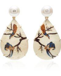 Silvia Furmanovich - Marquetry Bird Pear Drop Earrings - Lyst