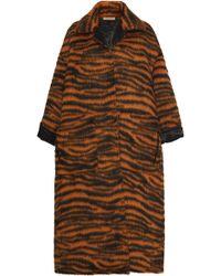 Bottega Veneta - Zebra Stripe Oversized Fur-blend Coat - Lyst