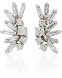 Suzanne Kalan - Post 18k White Gold Diamond Earrings - Lyst