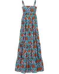 LaDoubleJ - Tiered Printed Voile Maxi Dress - Lyst