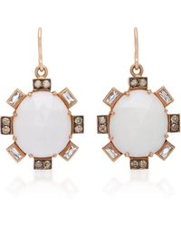 Sylva & Cie | 14k Rose Gold, Cocholong And Diamond Earrings | Lyst