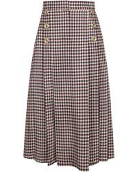 Dalood - Wool Gingham Skirt - Lyst