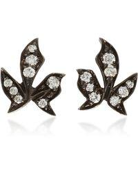 Montse Esteve - Oxidized Silver Diamond Stud Earrings - Lyst