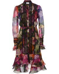 Marchesa - Floral Printed Cotton Poplin Shirt Dress - Lyst