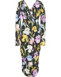 Dolce & Gabbana - Ruched Floral-print Stretch-silk Midi Dress - Lyst