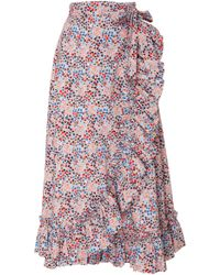 Philosophy Di Lorenzo Serafini - Printed Wrap Midi Skirt - Lyst