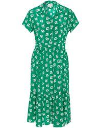 HVN - M'o Exclusive Charlotte Poppy Printed Silk Dress - Lyst
