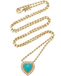 Khai Khai - 18k Gold, Turquoise, And Diamond Necklace - Lyst