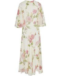 Giambattista Valli - Floral-print Silk-chiffon Midi Dress - Lyst