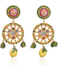 Dolce & Gabbana - Circle Drop Lemon Earrings - Lyst