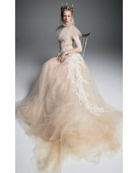 Vera Wang - Olympe Sleeved Tulle Gown With Corset And French Lace - Lyst