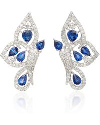 Sutra - 18k White Gold, Diamond And Sapphire Earrings - Lyst