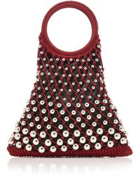 Les Petits Joueurs - Lea Leather Bag With Silver Metal Pearls - Lyst