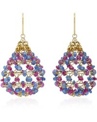 Mallary Marks - Russian Dome 18k Gold, Ruby And Cabochon Sapphire Beaded Earrings - Lyst